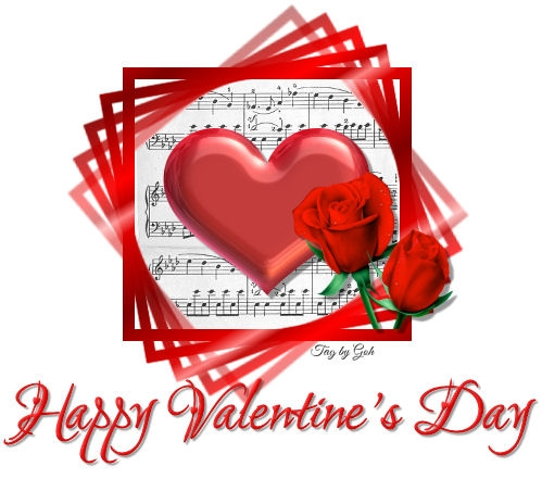 Happy Valentine's Day (roses and heart on music score)